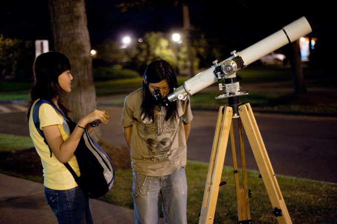 Yang Hu and Joe at the telescope.
